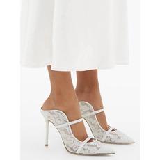 Weiße Spitze Stilettos Hochzeit High Heels 10CM