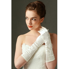 Geeignete Lange Satin Elfenbein Winter Volle finger Hochzeit Handschuhe