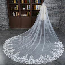 Braut Langschleier Hochzeit exquisite Schleier Spitze großen Schwanz Schleier