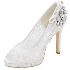Sexy Spitze Fersen Super High Heel Plattform Spitze Strass Schuhe