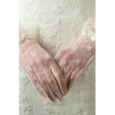 Schmetterlingsknoten Volle finger Dekoration Elfenbein Spitze Sexy Hochzeit Handschuhe