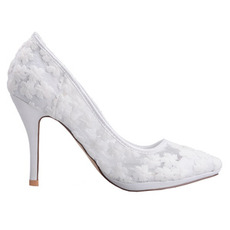Frühlingsspitzeflacher Mund zeigte einzelne Schuhe gestickte weiße Hochzeitsschuhe der Blumenhohen absätze