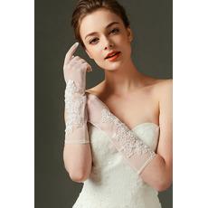 Spitze Transluzent Lange Sexy Schatten Volle finger Hochzeit Handschuhe