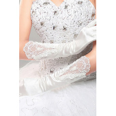 Halle Formell Lange Satin Applike Volle finger Hochzeit Handschuhe