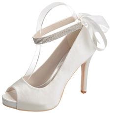 Satin Stiletto Hochzeit Schuhe Fisch Mund Schuhe Bankett jährliche Party Mode Schuhe