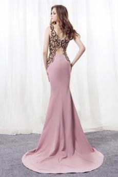 Bördeln Satin Formalen Juwel akzentuiertes Mieder Meerjungfrau Abendkleid