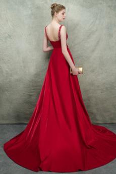 Ärmellos A Linie Natürliche Taille Trichter Breite Riemen Abendkleid