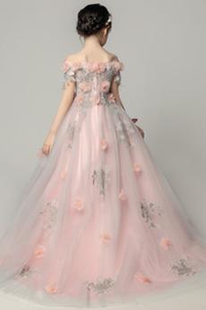 Formalen Tau Schulter Blumen Asymmetrisch Blumenmädchen kleid
