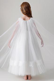 Natürliche Taille A Linie Perlengürtel Frühling Blumenmädchen kleid