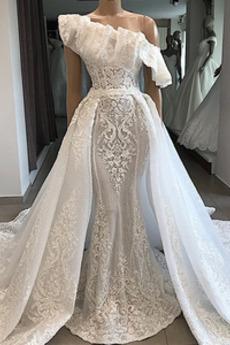 Eine Schulter Natürliche Taille Spitzenüberlagerung Hochzeitskleid