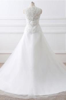 Perlengürtel Satiniert Hoch bedeckt V-Ausschnitt Hochzeitskleid