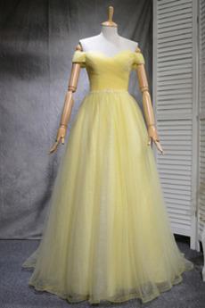 Tüllauflage A Linie Sommer Tüll Schnüren Einfache Brautjungfer kleid