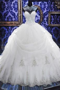Baskische Taille Kirche Kristall Schatz Satiniert Brautkleid