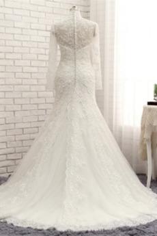 T Hemd Reißverschluss Lange Ärmel V-Ausschnitt Abperleffekt Brautkleid
