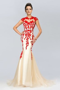 Juwel Spitze Reißverschluss Mantel Natürliche Taille Abendkleid
