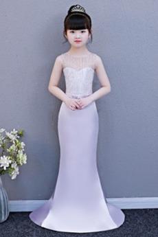 Meerjungfrau Akzentuierter Bogen Frühling Kleine Mädchen Kleid