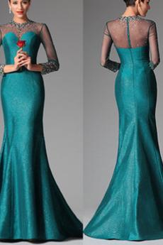 Lange Ärmel Illusionshülsen Satiniert Meerjungfrau Abendkleid
