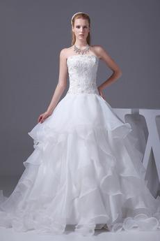Satiniert Trichter Schnüren Halle Bördeln Trägerlose Brautkleid