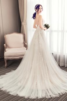 Frenal A Linie v-Hals Natürliche Taille Draussen Tüll Brautkleid