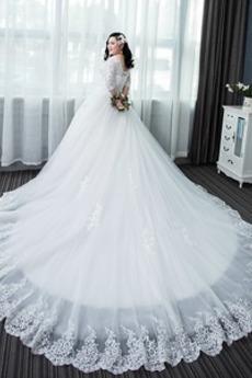 Appliques Frühling Halle Invertiertes Dreieck Hochzeitskleid