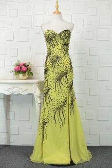 Bördeln Schnüren Zierlich A Linie Natürliche Taille Abendkleid