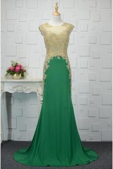 Juwel akzentuiertes Mieder Natürliche Taille Spitze Abendkleid