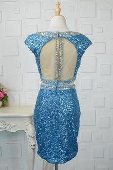 Breit flach Glamourös Mantel Pailletten Mieder Knie-Länge Abendkleid