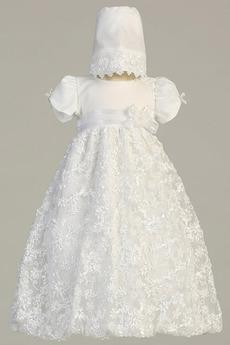 Natürliche Taille Juwel Abnehmbarer Zug Formalen Blumenmädchen kleid