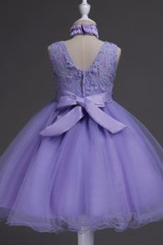 Natürliche Taille Spitzenüberlagerung Juwel Blumenmädchen kleid