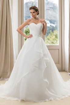 Frühling Ärmellos Fegen zug einfache Asymmetrische Brautkleid
