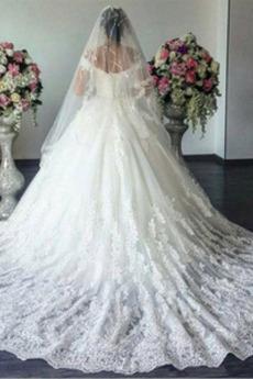 Satin Spitzenüberlagerung Schnüren Kurze Ärmel Klassische Brautkleid