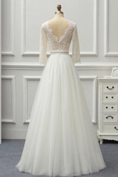 Natürliche Taille A Linie Lehnenlose Bodenlänge Hochzeitskleid