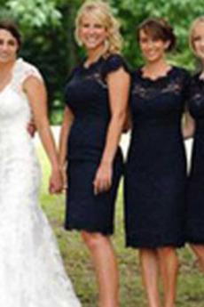 Mantel Schlüsselloch zurück Frenal Knielänge Brautjungfernkleid