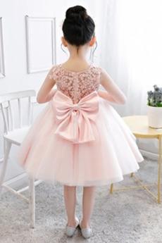 Ärmellos Hochzeit Spitze Natürliche Taille Spitze Blumenmädchen kleid