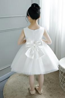 A Linie Tüll Juwel Reißverschluss Natürliche Taille Kleine Mädchen Kleid