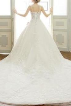 Natürliche Taille Ärmellos Königlicher Zug Spitze Brautkleid