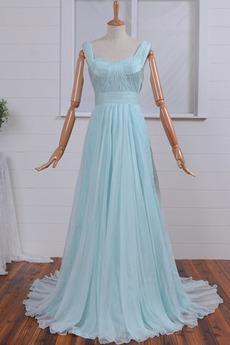 Chiffon Sommer einfache Hochzeit Breite Riemen Brautjungfernkleid