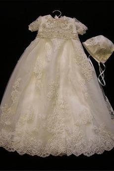 Laterne Prinzessin Hoch bedeckt Lange Spitze Blumenmädchen kleid