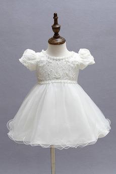 Spitzenbesatz Tee Länge Juwel Natürliche Taille Tüll Blumenmädchen kleid