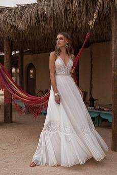 Tüll Natürliche Taille Birne Draussen Fallen Ärmellos Hochzeitskleid
