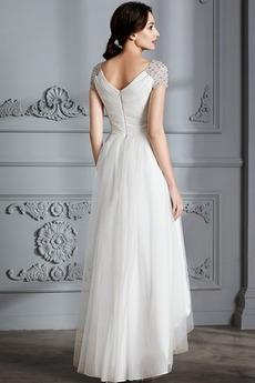asymmetrische Reißverschluss Draussen Brautkleid mit kurzen Ärmeln