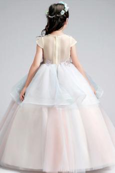 Illusionshülsen Kurze Ärmel Mehrschichtig Kleine Mädchen Kleid