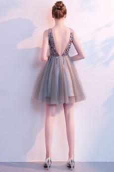 Knie-Länge Rückenfrei Frenal V-Ausschnitt Tüll Cocktailkleid