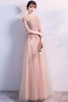 Illusionshülsen Spitzenüberlagerung Elegante Trauzeugin kleid