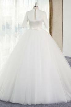 Frühling T Hemd Reißverschluss A Linie Natürliche Taille Einfache Brautkleid