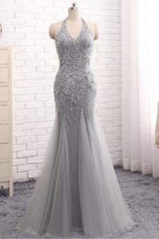 Meerjungfrau V-Ausschnitt Reißverschluss Trichter Abendkleid