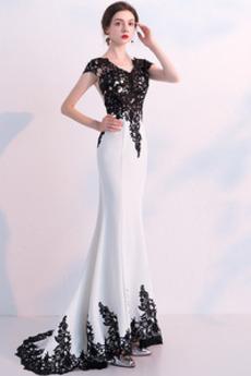 Schnüren Spitzenbesatz Hochzeit Bodenlänge Meerjungfrau Abendkleid