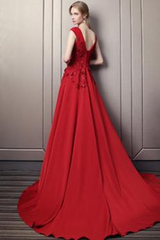 Satiniert Bankett Spitzenüberlagerung A Linie Natürliche Taille Abendkleid