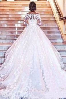 Lange Tau Schulter Schaltfläche Reiner zurück Frühling Brautkleid