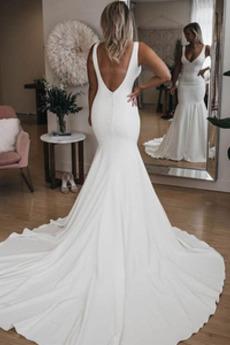 Natürliche Taille Tiefer V-Ausschnitt Drapiert Rückenlose Brautkleid